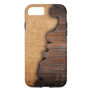 Modelo de madera astillado grano de madera rústico funda iPhone 7