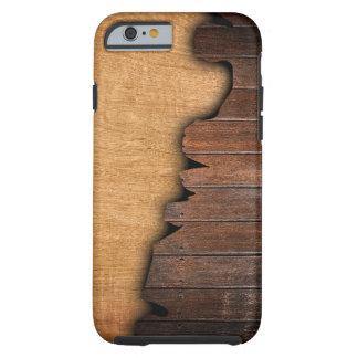 Modelo de madera astillado grano de madera rústico funda resistente iPhone 6