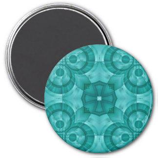 Modelo de madera azul abstracto imán redondo 7 cm