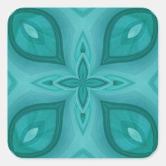 Modelo de madera azul abstracto pegatinas cuadradas