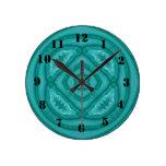 Modelo de madera azul abstracto reloj redondo mediano