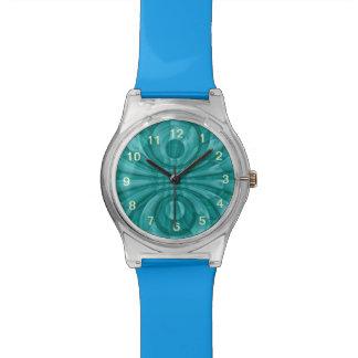 Modelo de madera azul abstracto relojes de pulsera