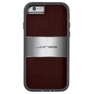 modelo de madera con la hoja y el nombre de metal funda tough xtreme iPhone 6
