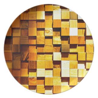Modelo de madera de los bloques platos