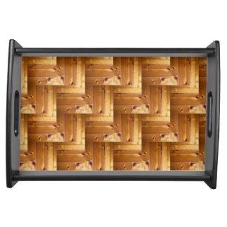 Modelo de madera de pino de la raspa de arenque bandejas