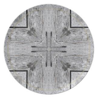 Modelo de madera del caleidoscopio del granero del plato de cena