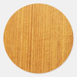 Modelo de madera del grano etiqueta redonda