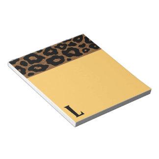 Modelo de madera del leopardo del estallido libreta para notas