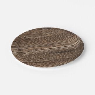 Modelo de madera del país plato de papel de 7 pulgadas