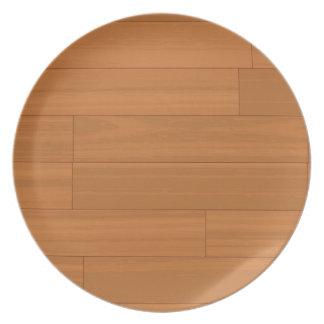 Modelo de madera del piso de entarimado plato de cena