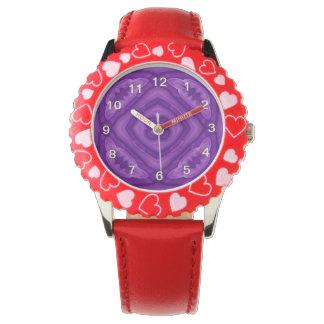 Modelo de madera púrpura abstracto reloj