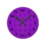 Modelo de madera púrpura moderno reloj de pared