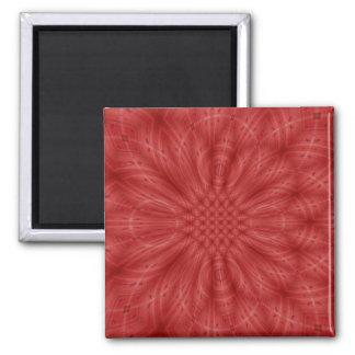Modelo de madera rojo abstracto imán cuadrado