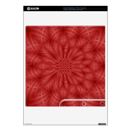 Modelo de madera rojo abstracto calcomanías para el PS3 slim