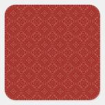 Modelo de madera rojo abstracto calcomanía cuadradase