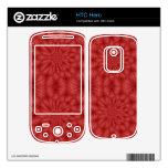 Modelo de madera rojo abstracto skins para HTC hero