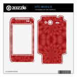 Modelo de madera rojo abstracto calcomanías para HTC wildfire s