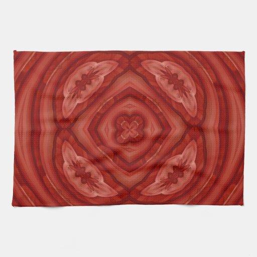 Modelo de madera rojo abstracto toalla de cocina