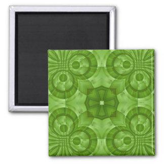 Modelo de madera verde abstracto imán cuadrado