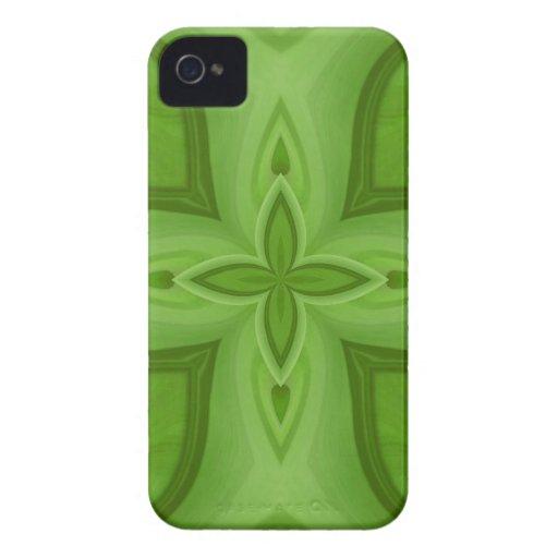 Modelo de madera verde abstracto iPhone 4 carcasas