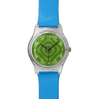 Modelo de madera verde abstracto reloj de mano