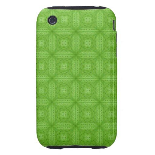 Modelo de madera verde de la textura tough iPhone 3 carcasa