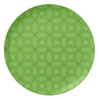 Modelo de madera verde de la textura plato para fiesta