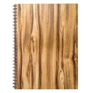 Modelo de madera vertical del grano cuaderno