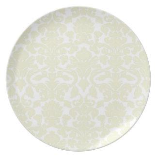 Modelo de marfil lindo del damasco plato