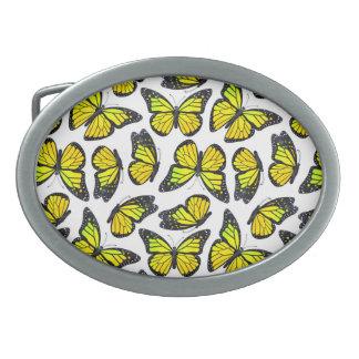 Modelo de mariposa amarillo de monarca hebillas cinturón ovales
