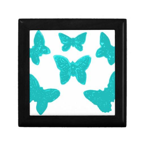 Modelo de mariposa de la turquesa joyero cuadrado pequeño
