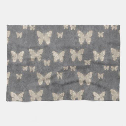 Modelo de mariposa de los azules marinos del vinta toalla de mano