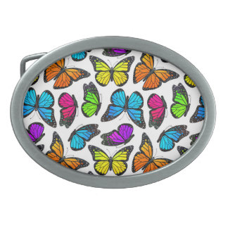 Modelo de mariposa de monarca del arco iris hebillas de cinturon ovales