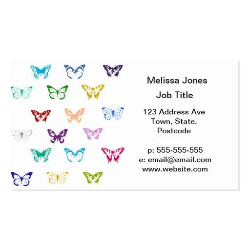 Modelo de mariposa del arco iris tarjeta de visita