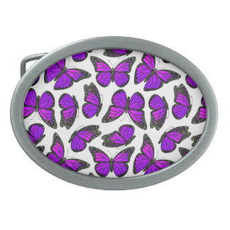 Modelo de mariposa púrpura de monarca hebilla de cinturón oval