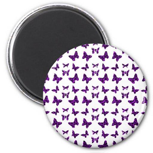Modelo de mariposa púrpura del estampado leopardo imán redondo 5 cm