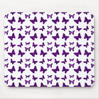 Modelo de mariposa púrpura del estampado leopardo tapete de ratón