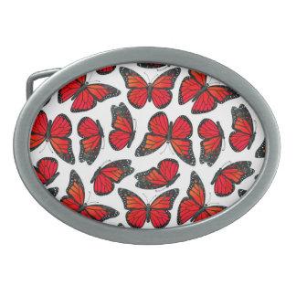 Modelo de mariposa rojo de monarca hebillas de cinturón ovales