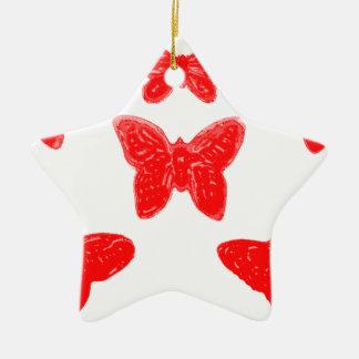 Modelo de mariposa rojo adorno de cerámica en forma de estrella
