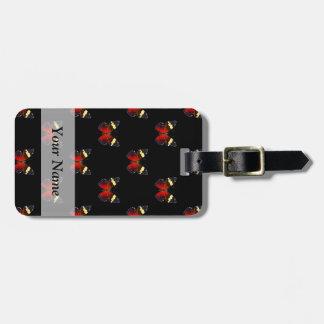 Modelo de mariposa rojo y negro etiqueta para maleta