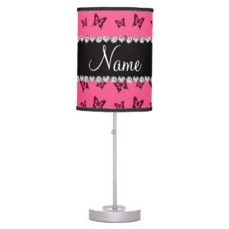 Modelo de mariposa rosado conocido personalizado lámpara de mesa