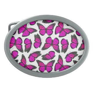Modelo de mariposa rosado de monarca hebilla cinturon oval