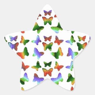 Modelo de mariposa tropical del remolino pegatina en forma de estrella