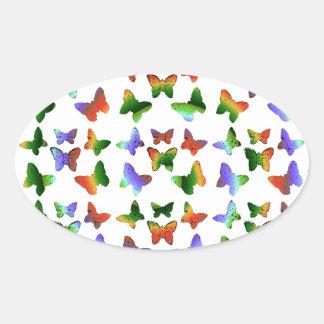 Modelo de mariposa tropical del remolino pegatina ovalada