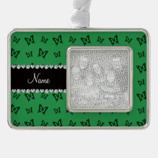 Modelo de mariposa verde conocido personalizado marcos de adorno plateado