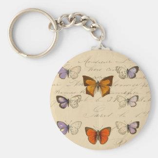 Modelo de mariposas elegante francés del vintage llaveros personalizados