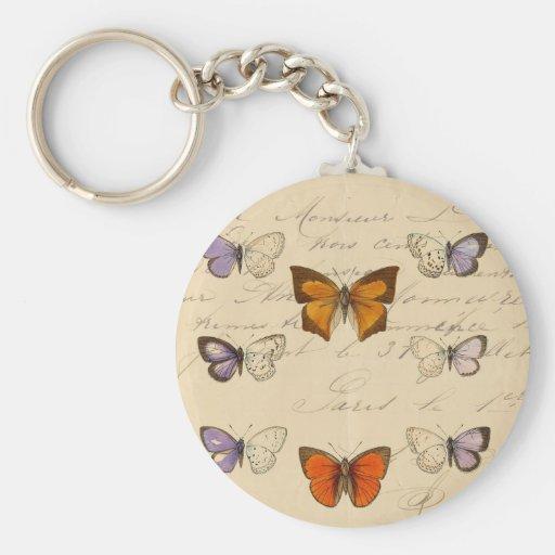 Modelo de mariposas elegante francés del vintage llavero redondo tipo pin