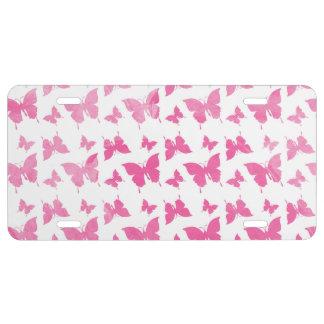 Modelo de mariposas rosado lindo de la acuarela placa de matrícula