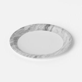 Modelo de mármol blanco y gris de la textura plato de papel 17,78 cm