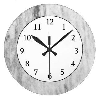 Modelo de mármol blanco y gris de la textura reloj redondo grande